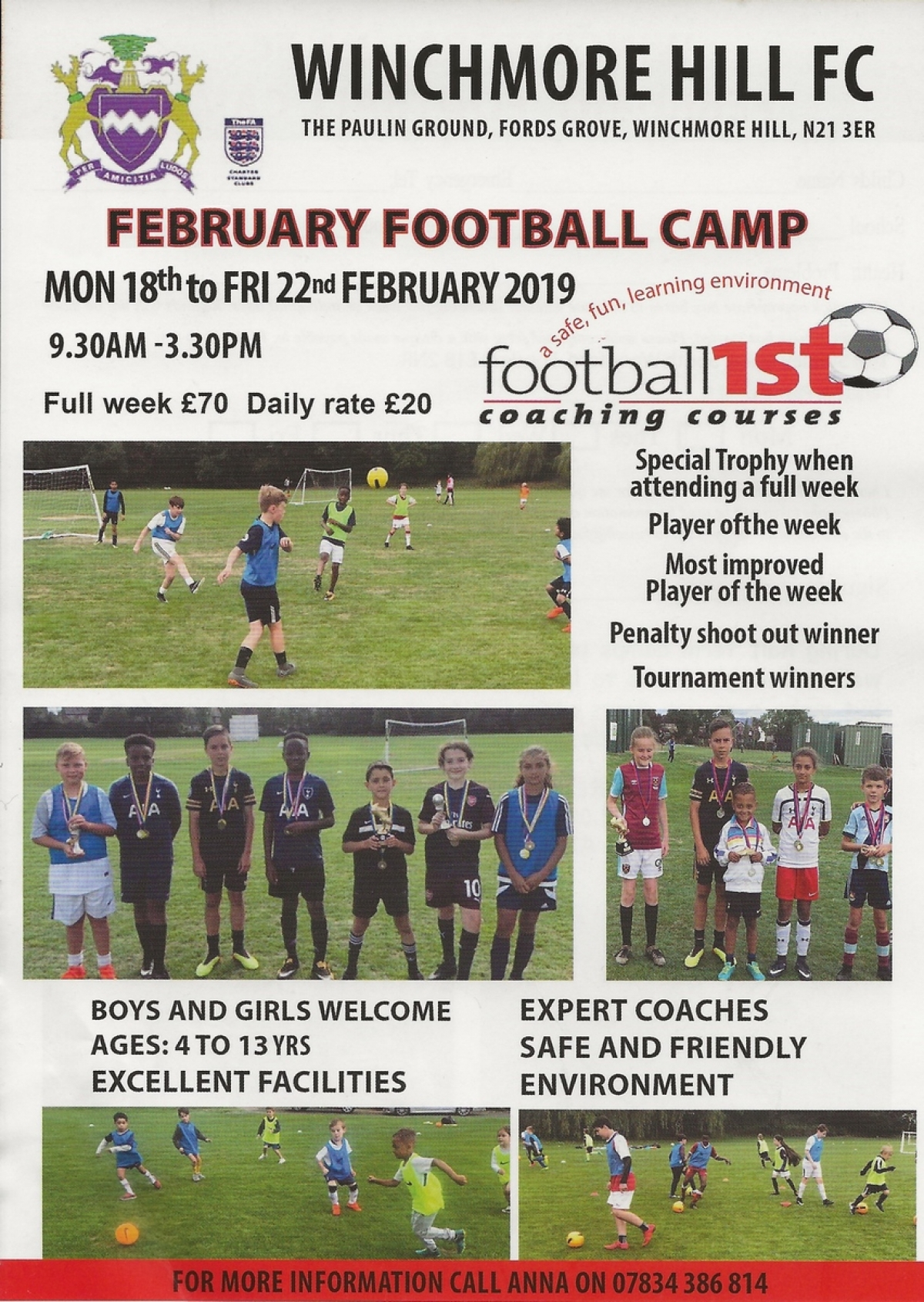 February Half Term Football Camp 2019